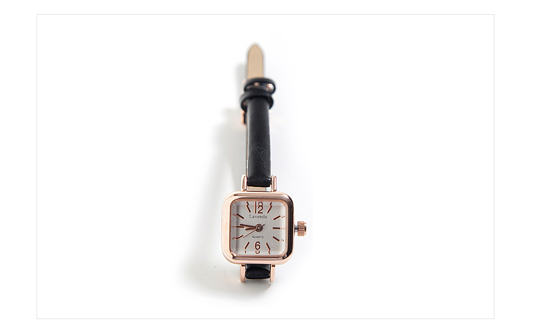 Square Face Slim-Strapped Wristwatch|