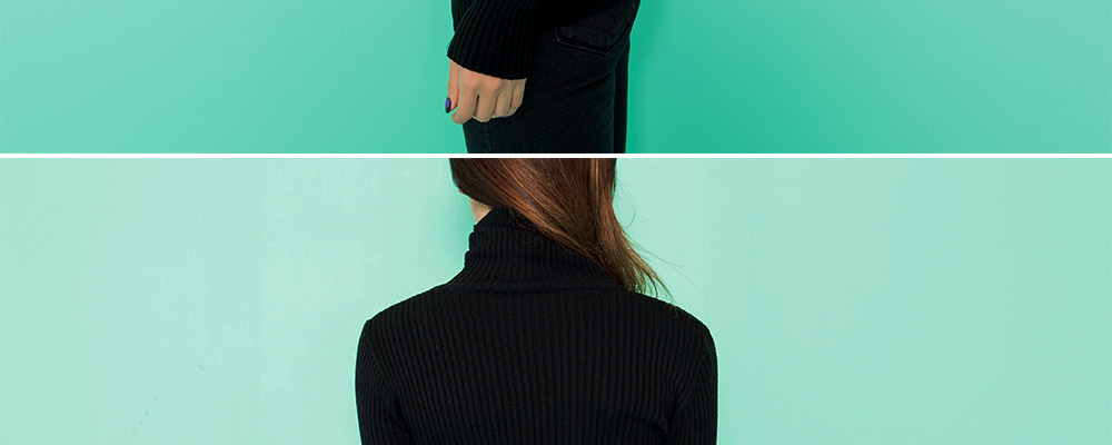 Slim Ribbed Turtleneck Top|