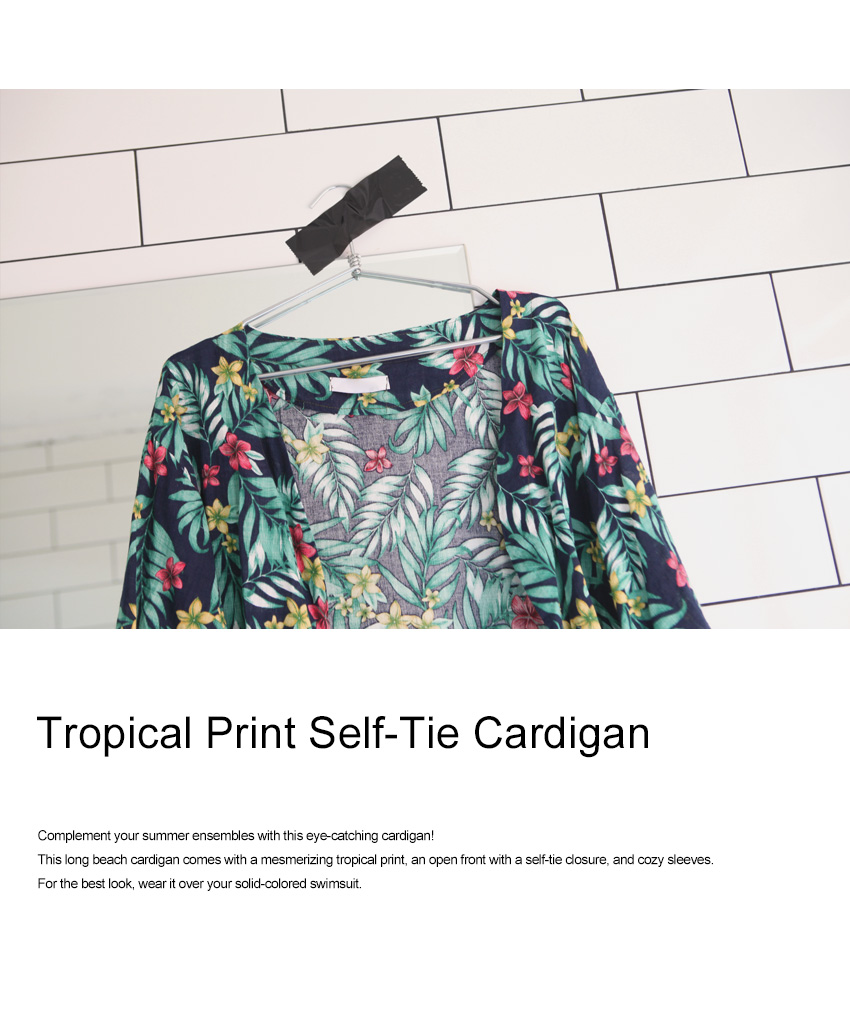 Tropical Print Self-Tie Cardigan|