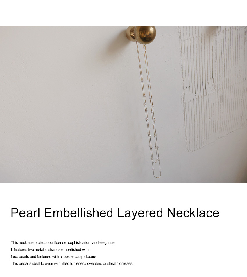 Pearl Embellished Layered Necklace|