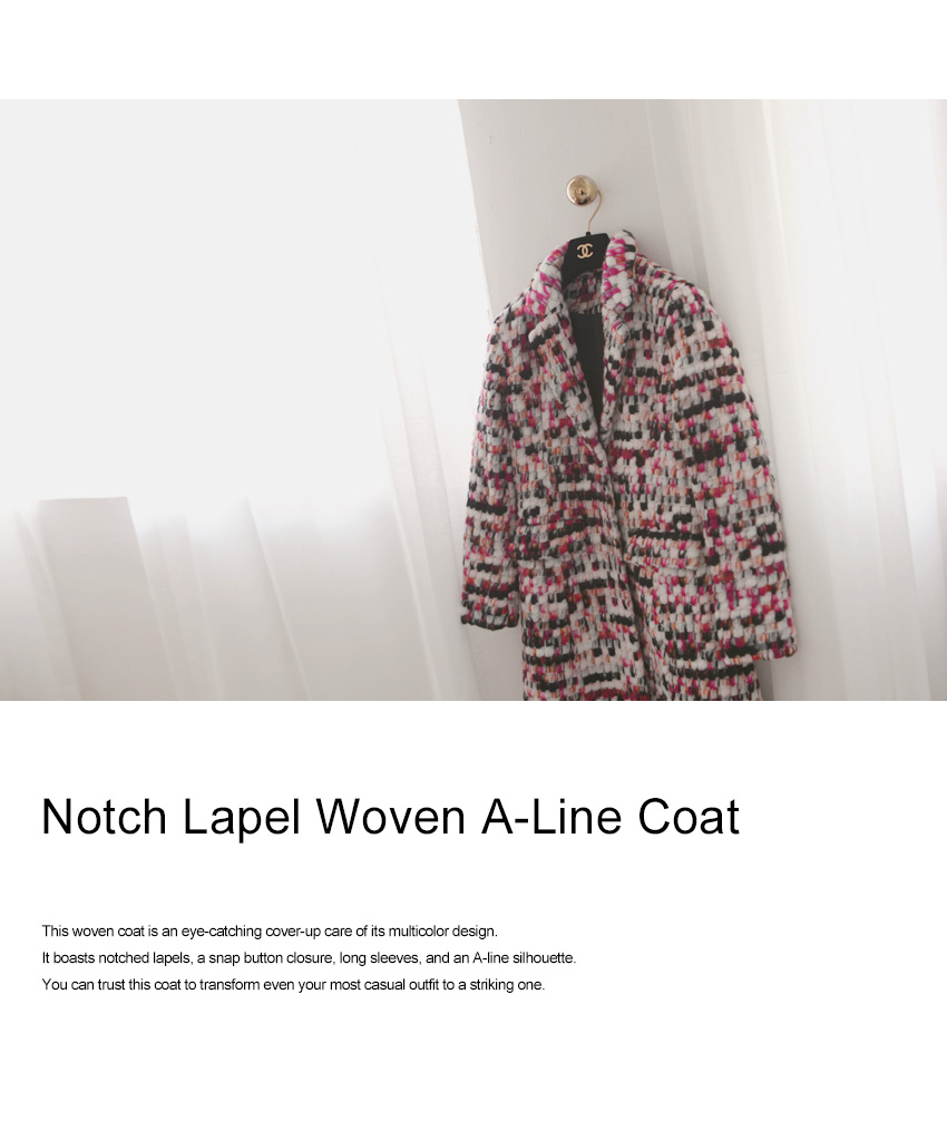Notch Lapel Woven A-Line Coat|