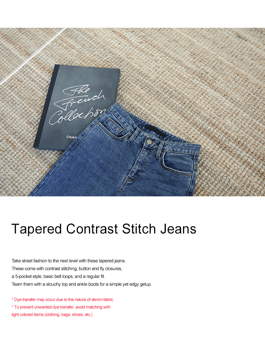 Tapered Contrast Stitch Jeans|