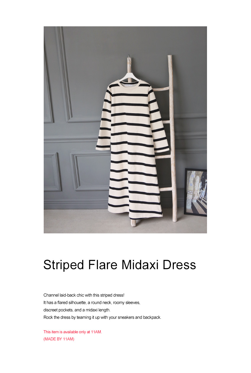 Striped Flare Midaxi Dress|