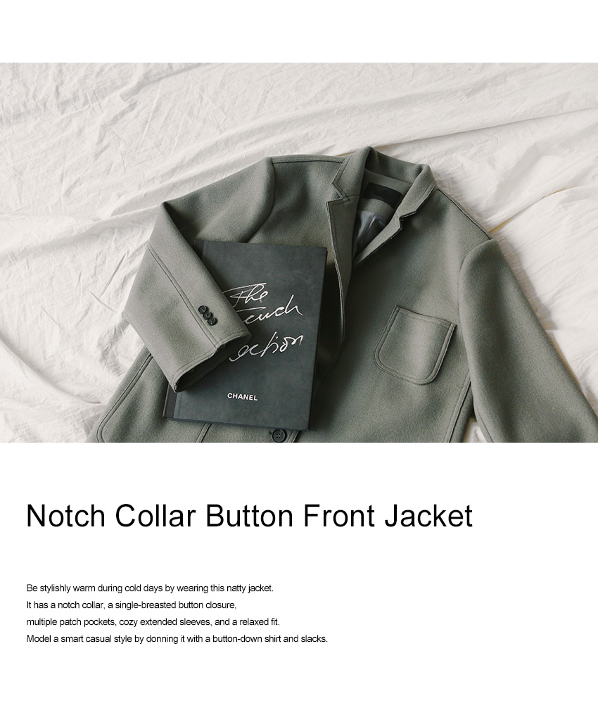 Notch Collar Button Front Jacket|