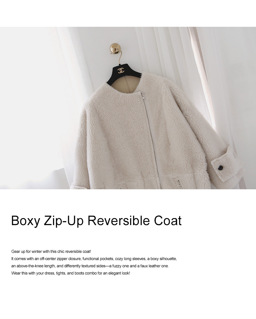 Boxy Zip-Up Reversible Coat|