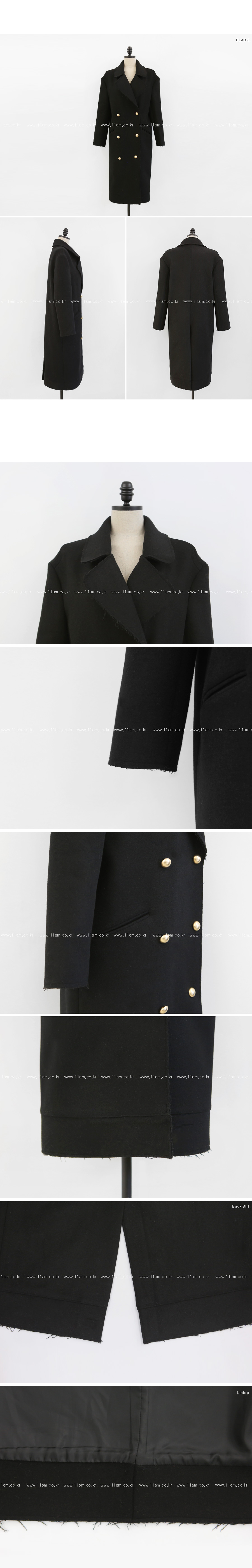 Gold Tone Button Raw Hem Coat|