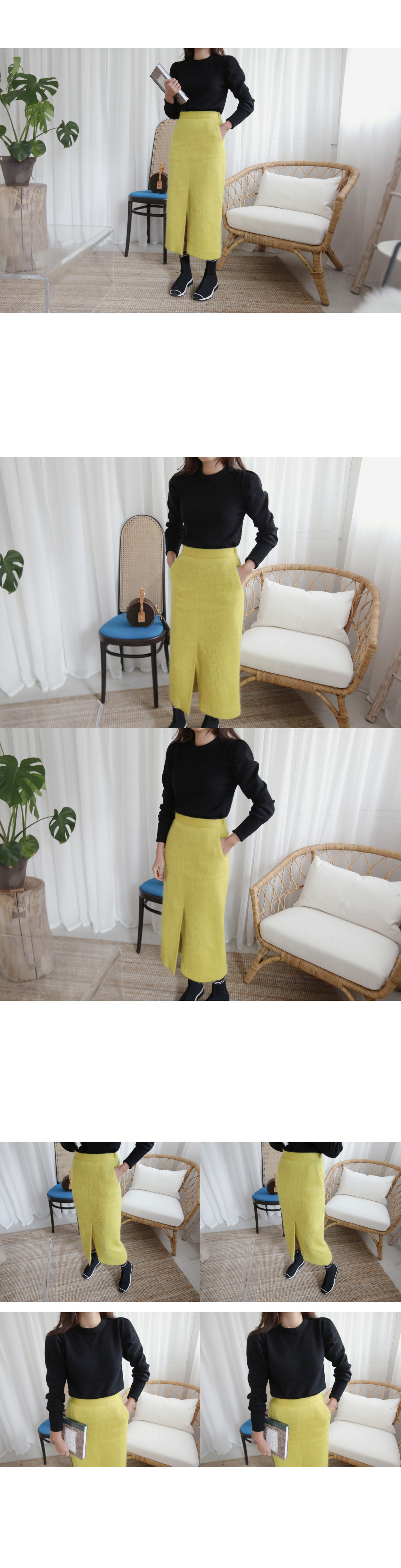 Front Slit Long Solid Tone Skirt|