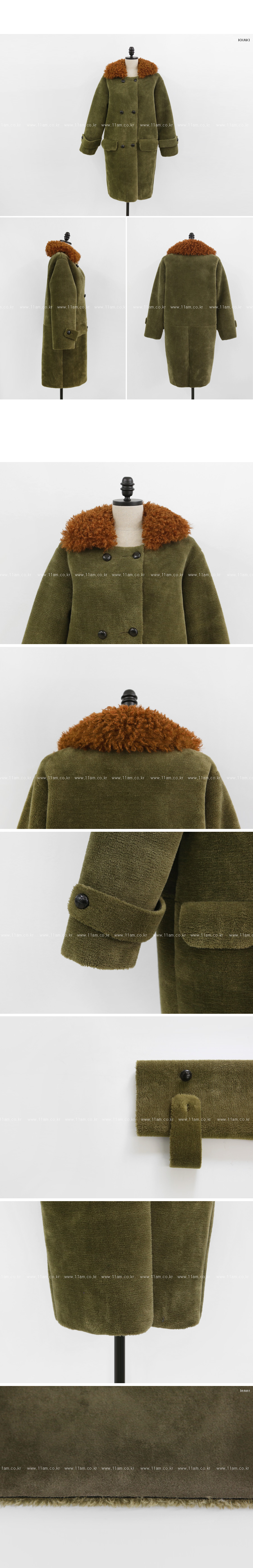 Fuzzy Collar Double Breasted Coat|