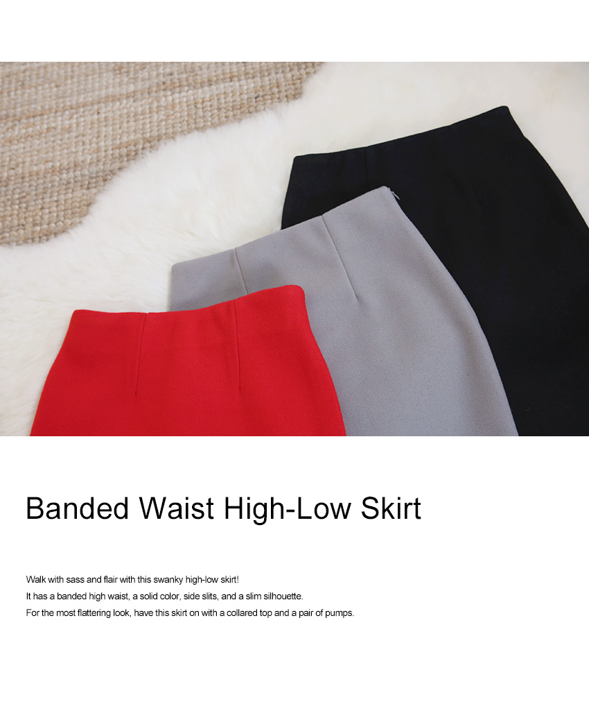 Banded Waist High-Low Skirt|