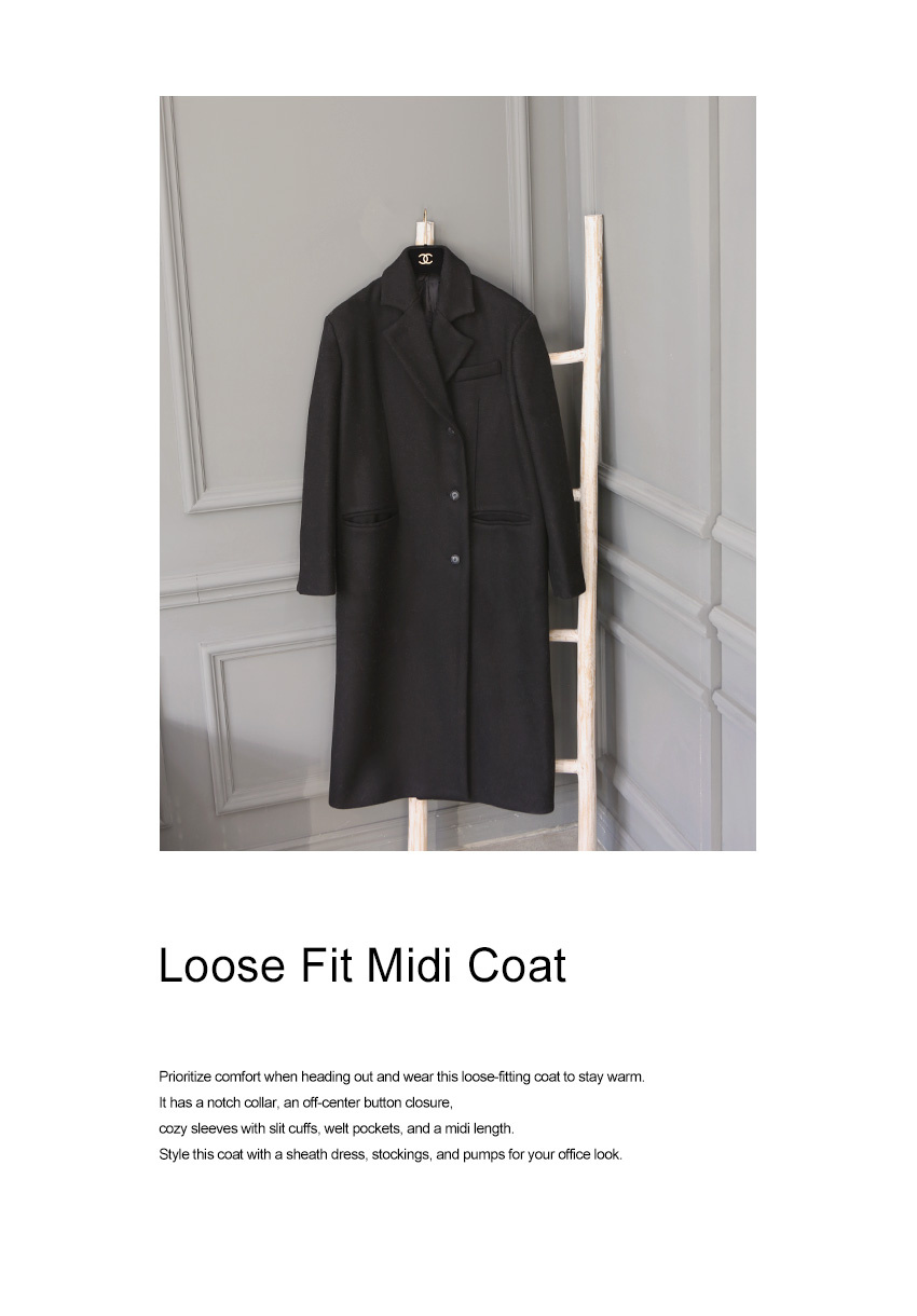 Loose Fit Midi Coat|