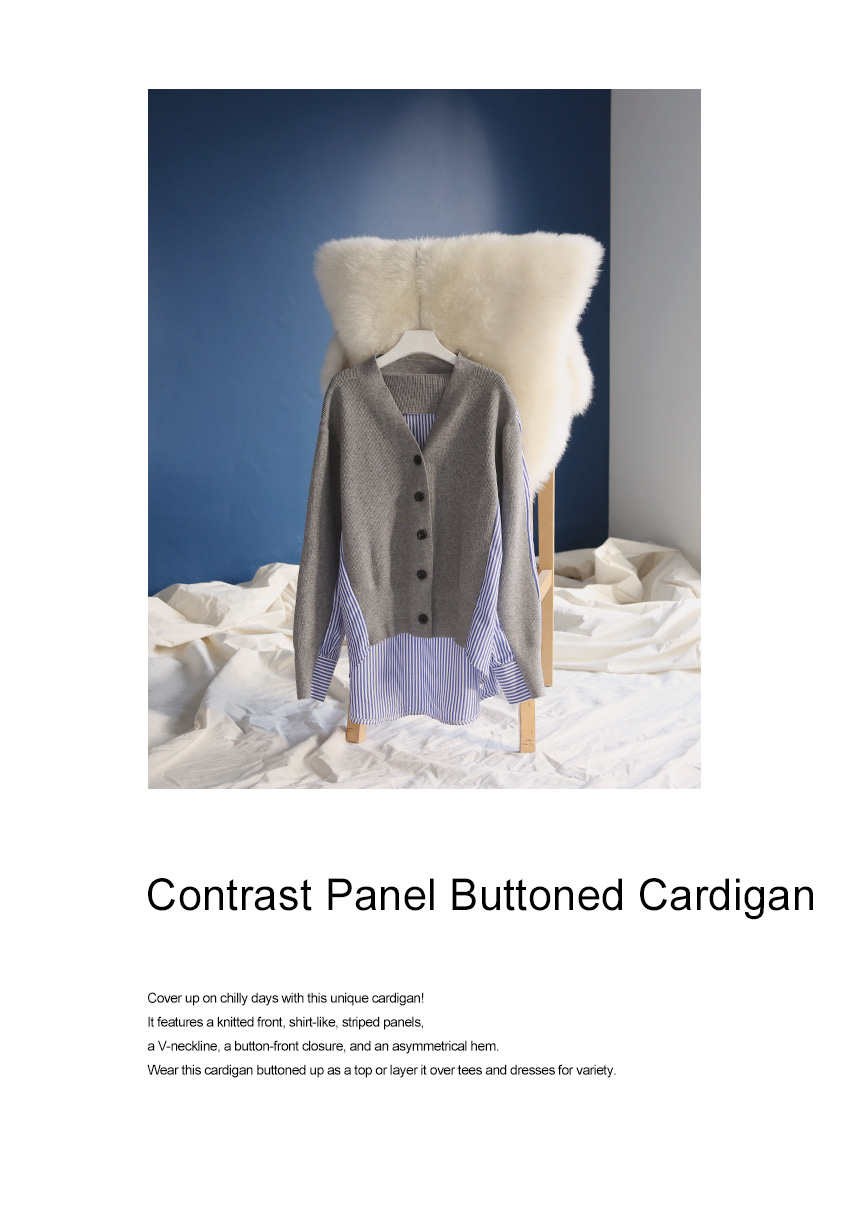 Contrast Panel Buttoned Cardigan|