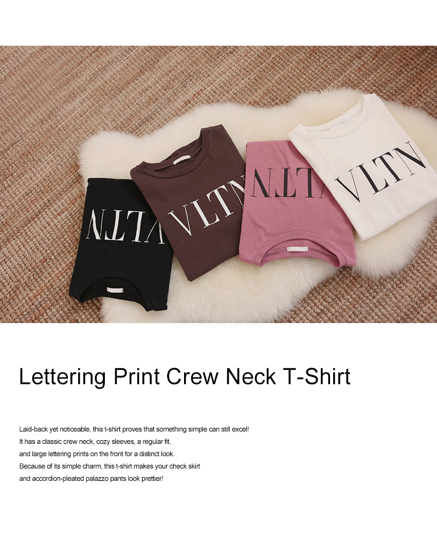 Lettering Print Crew Neck T-Shirt|