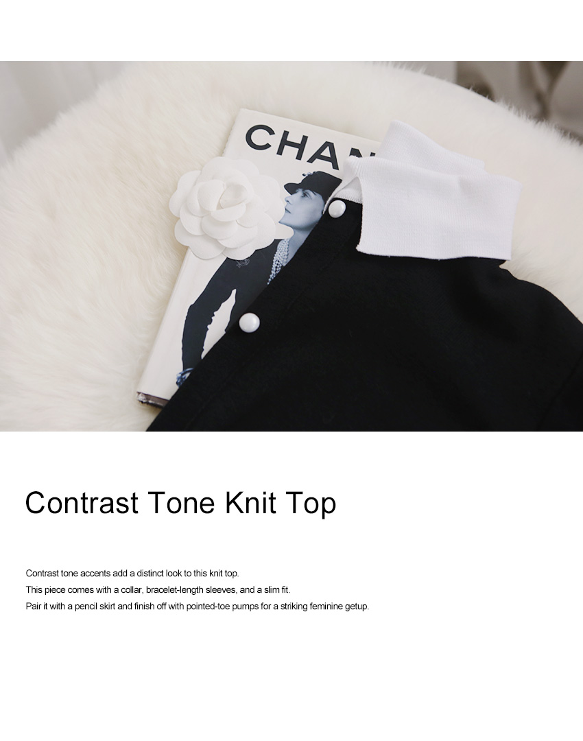 Contrast Tone Knit Top|