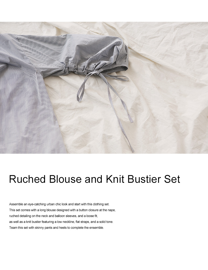 Ruched Blouse and Knit Bustier Set|