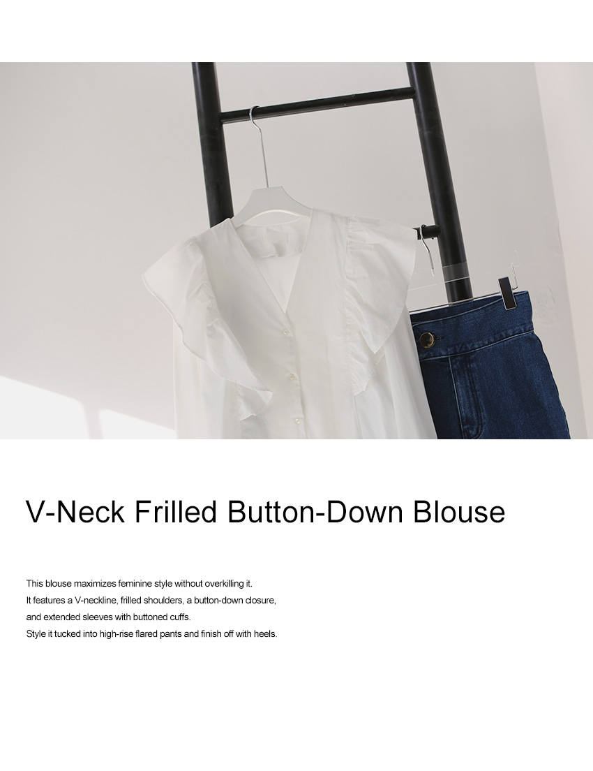 V-Neck Frilled Button-Down Blouse|