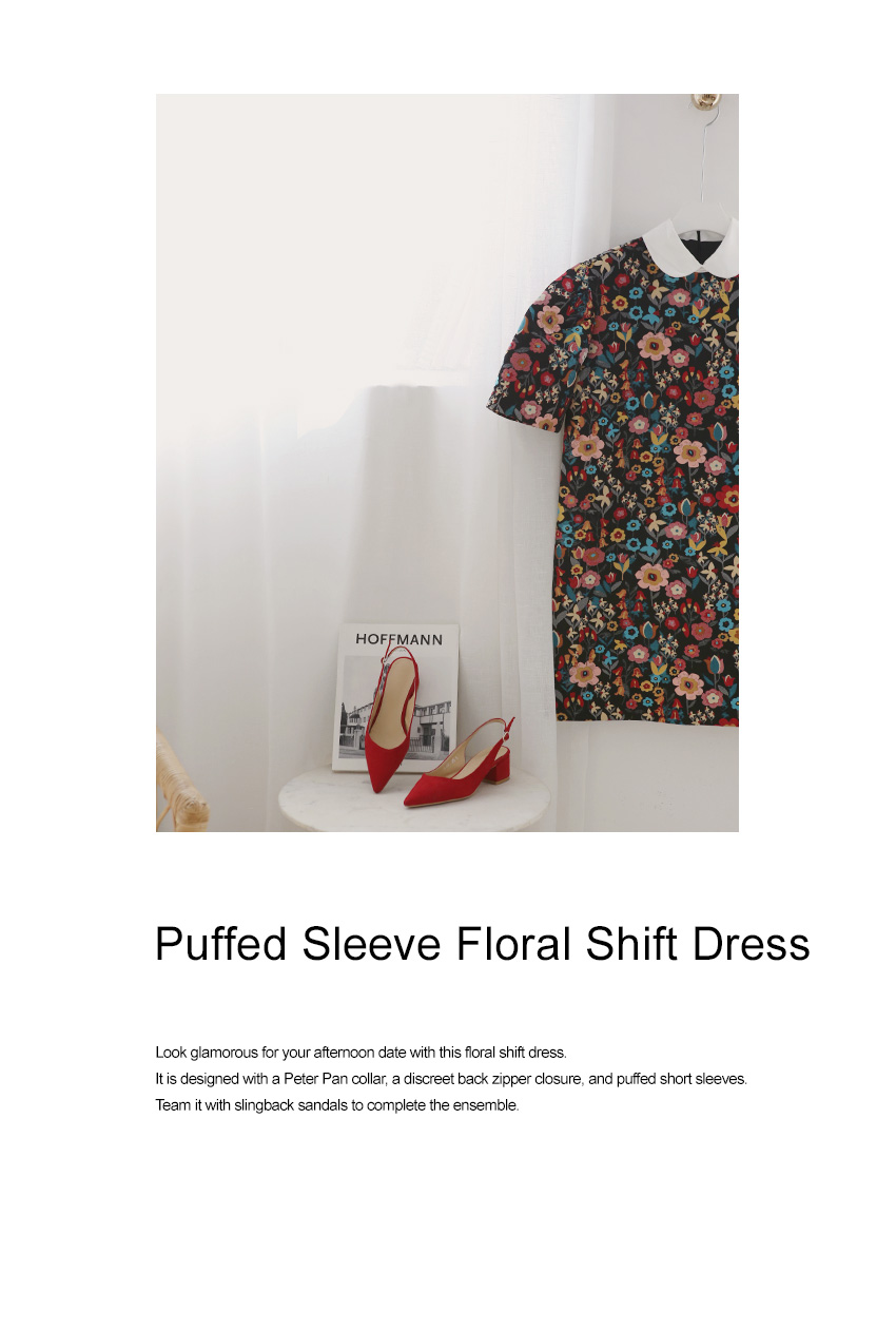 Puffed Sleeve Floral Shift Dress|