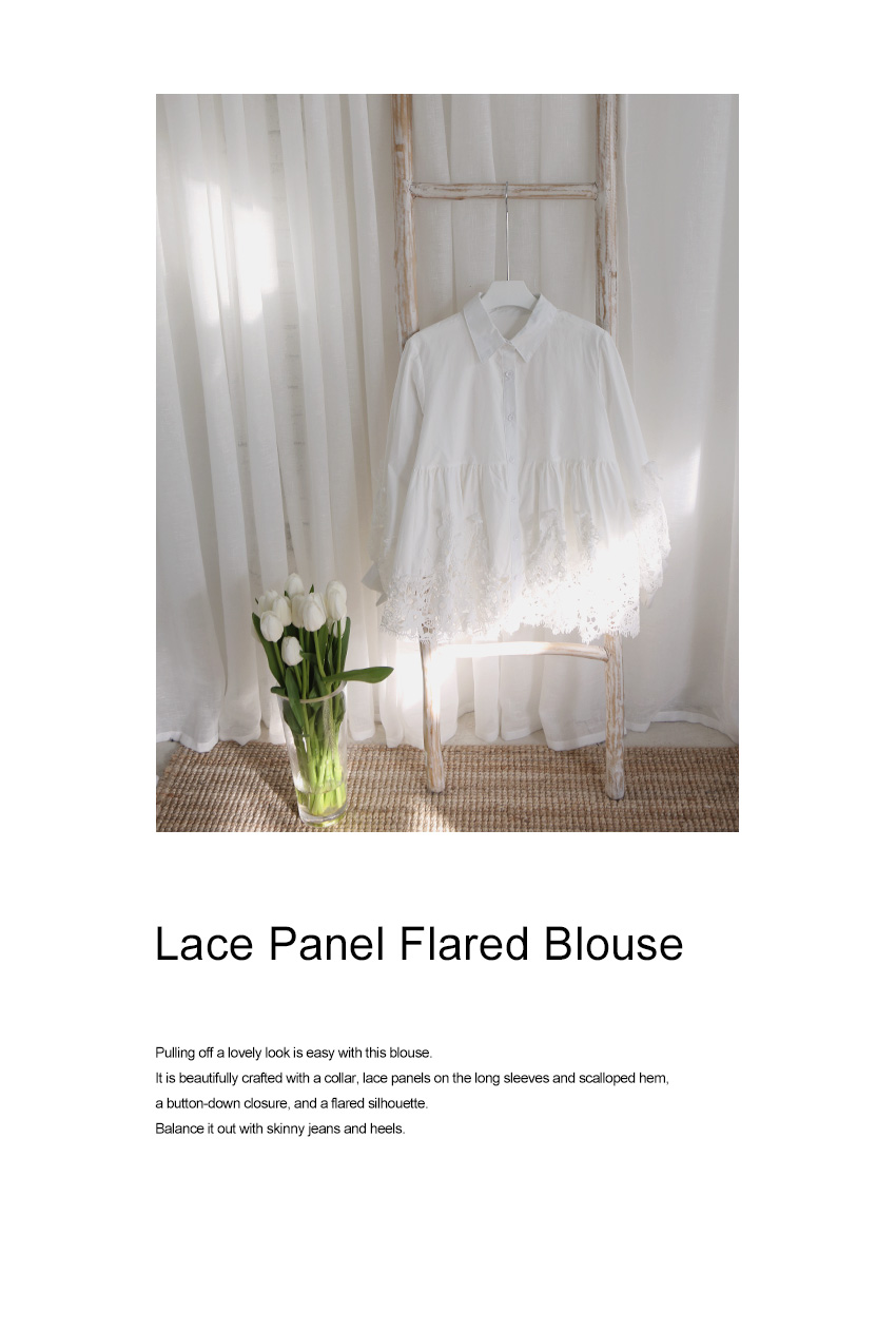 Lace Panel Flared Blouse|