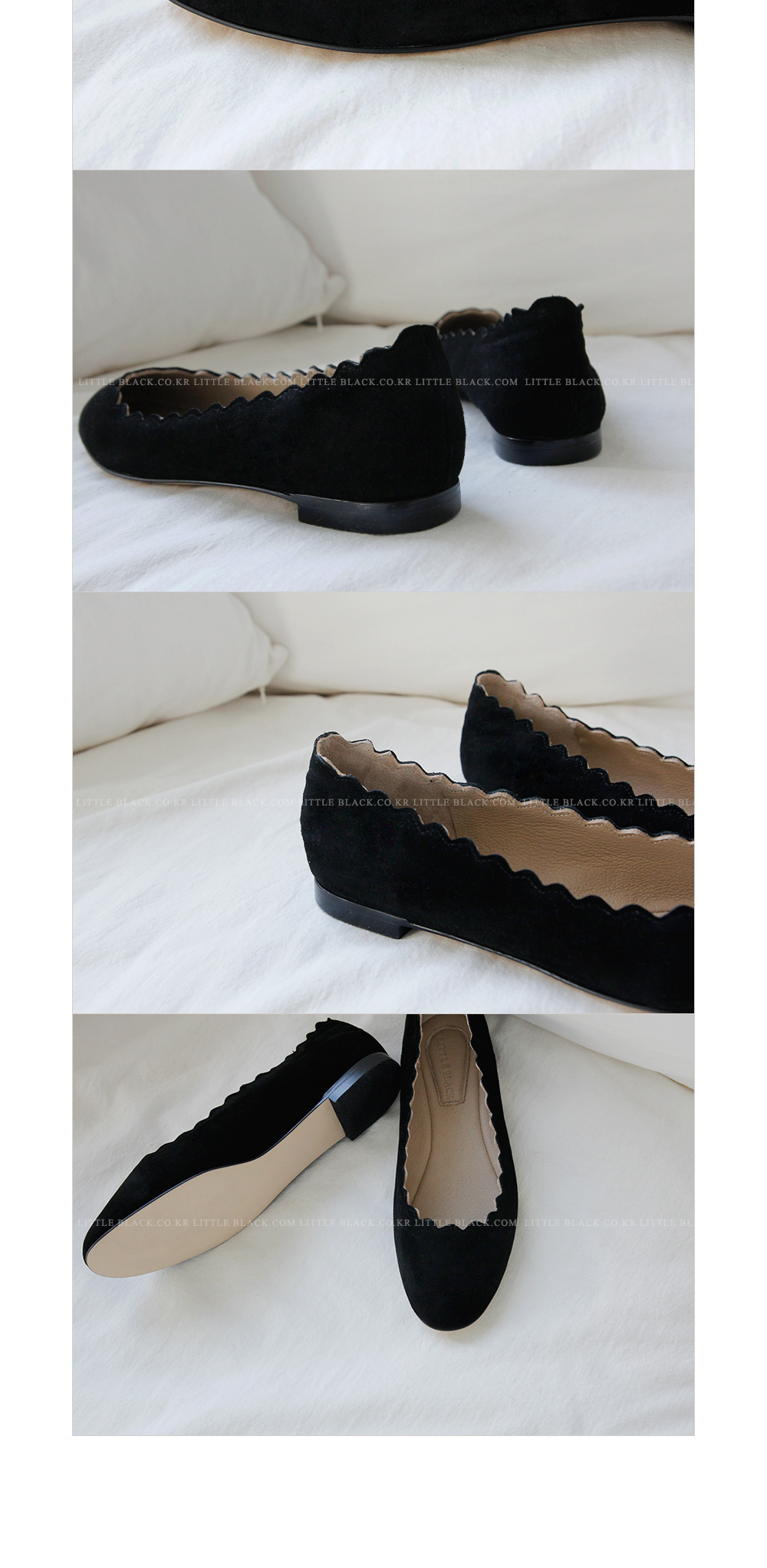 Scalloped Suede Ballet Flats|