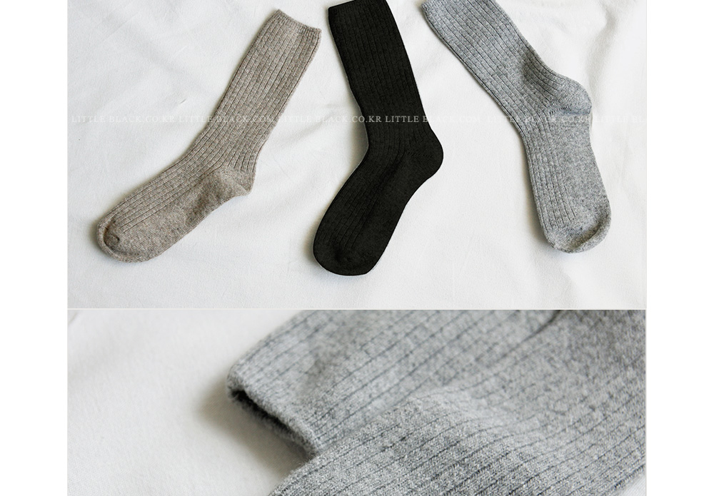 Wool-Blend Ribbed Socks|