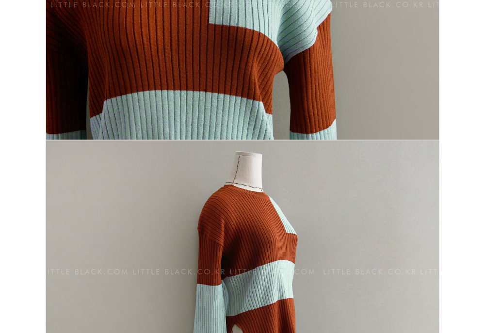 Two-Tone Ribbed Knit Top|