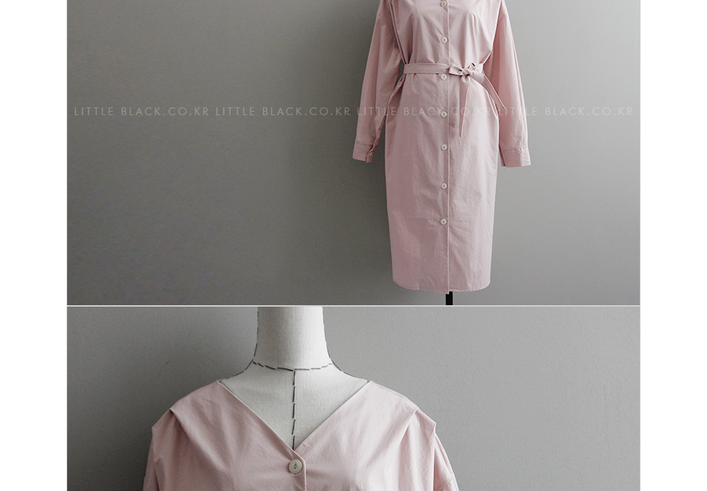 Self-Tie Button-Down Dress|