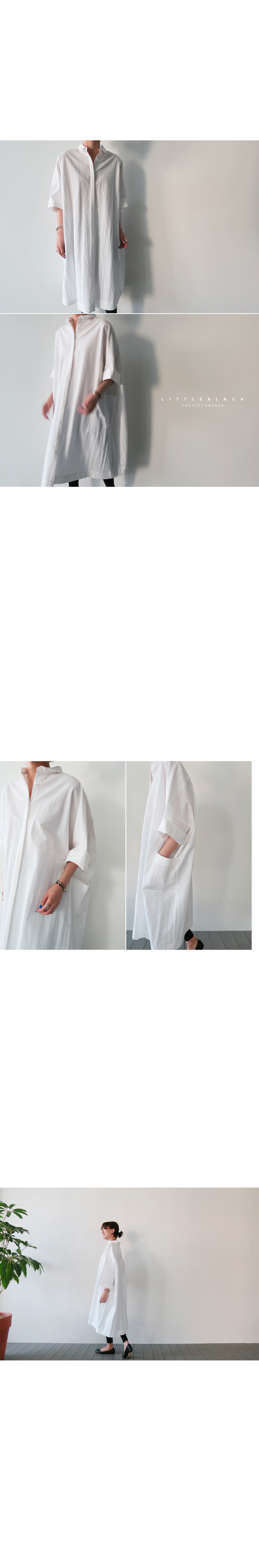 Side Pocket Oversized Shirt Dress|