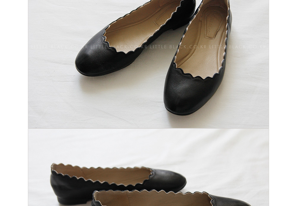 Lambskin Leather Scalloped Flats|