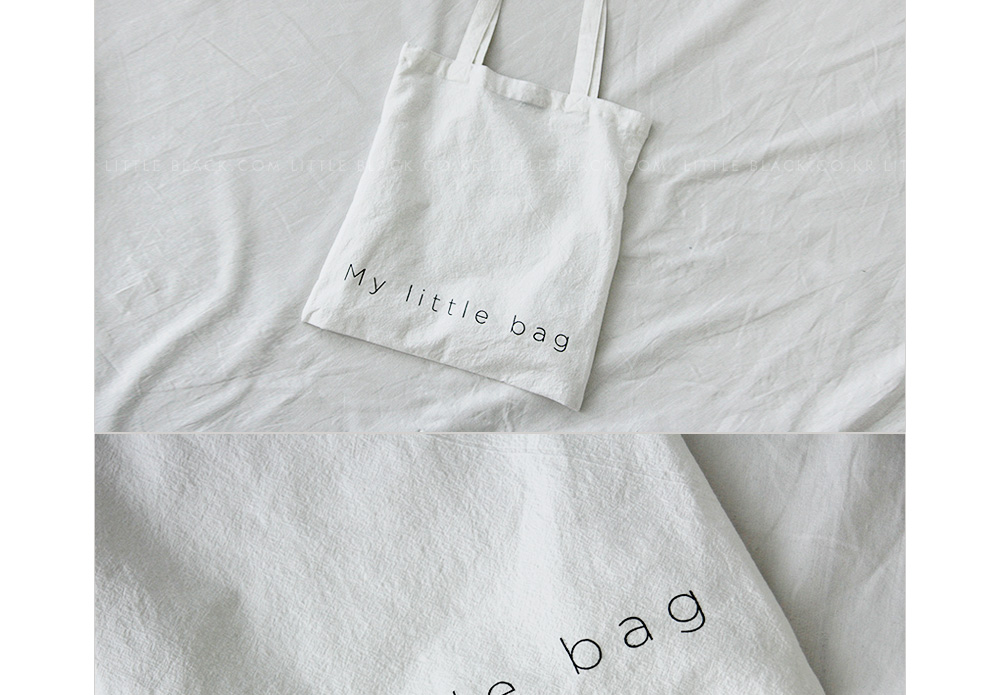 Letter Print Cotton Tote Bag|