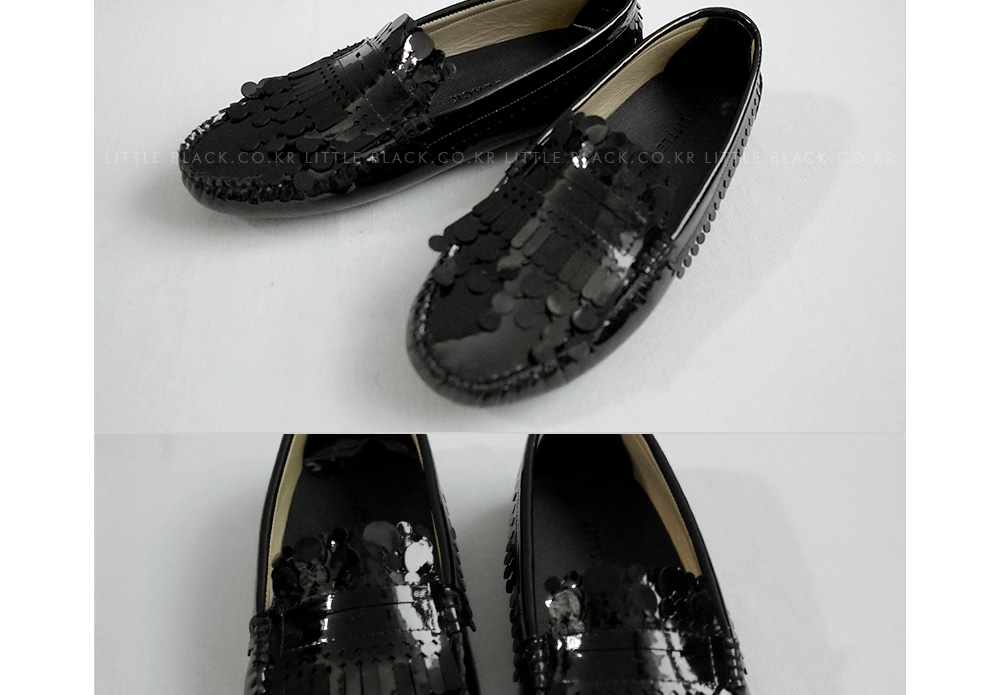 Circle-Trimmed Patent Leather Driving Loafers|