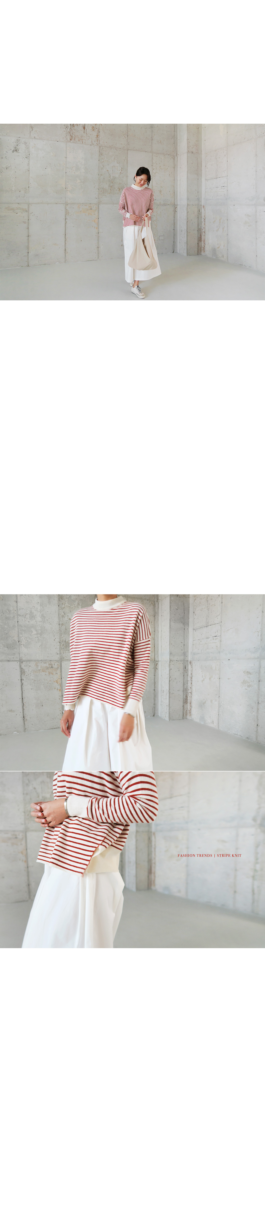 Loose Fit Striped Mock Neck Sweater|