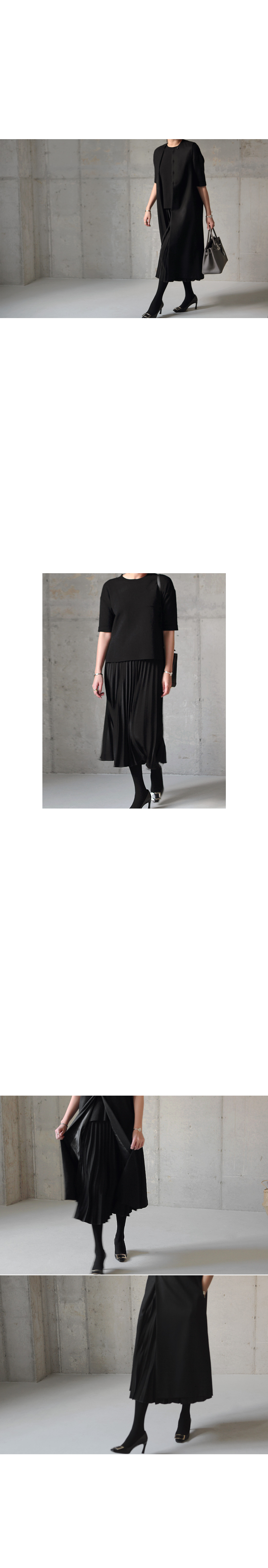 Accordion Pleat Midi Skirt|