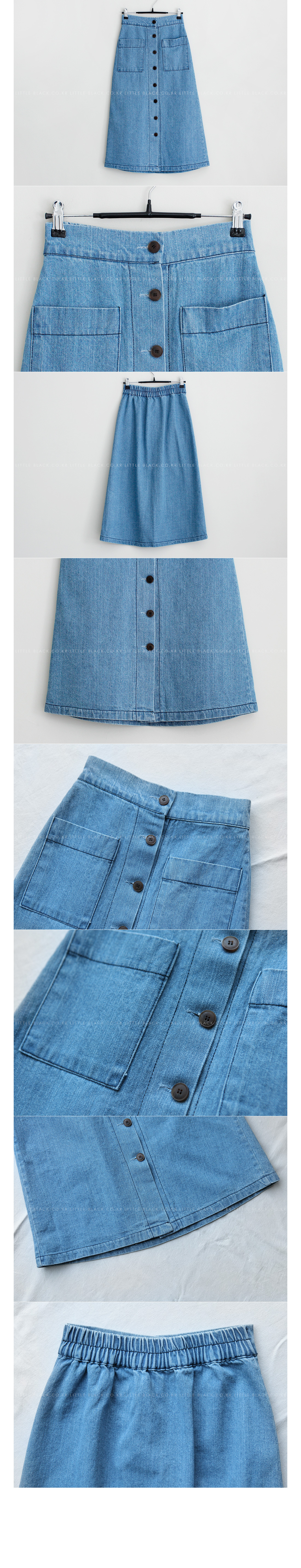 Button Front A-Line Denim Skirt|