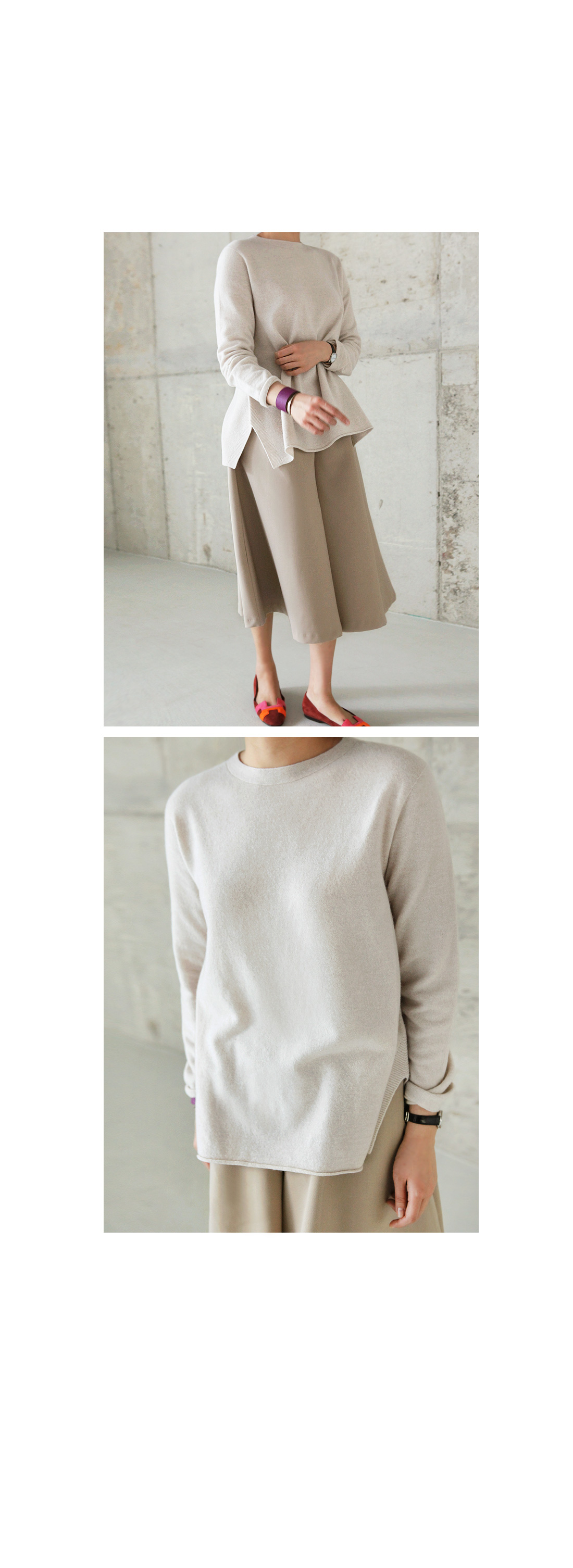 Jewel Neck Long Sleeve Knit Top|