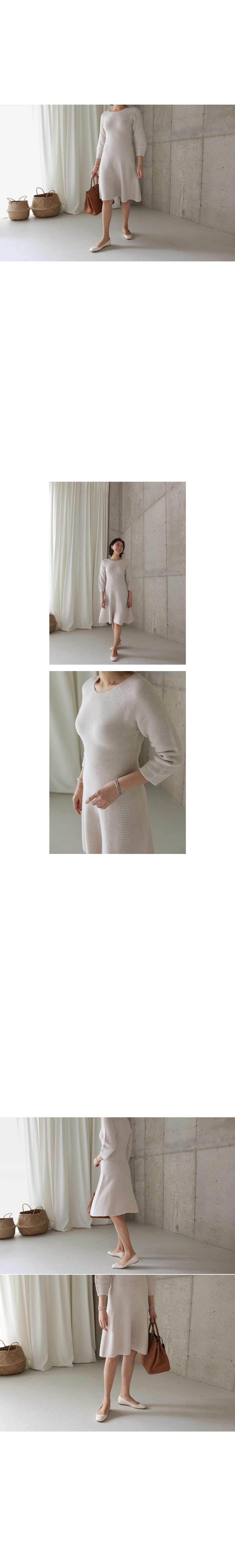 Flared Knit Midi Dress|