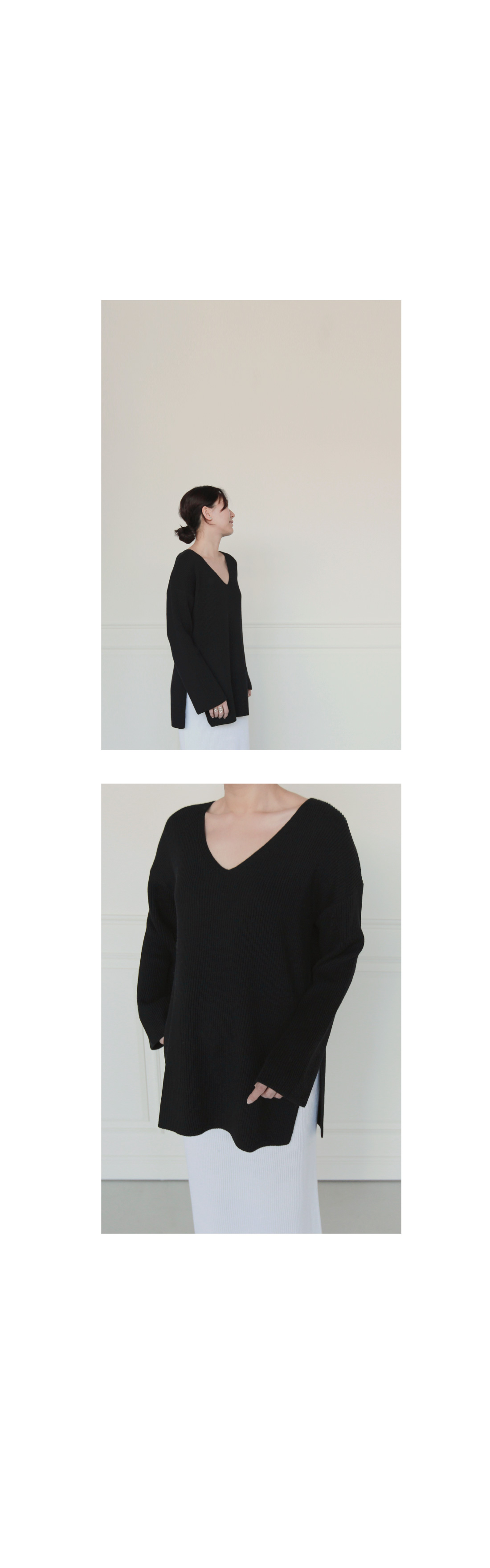 V-Neck Rib Knit Tunic|