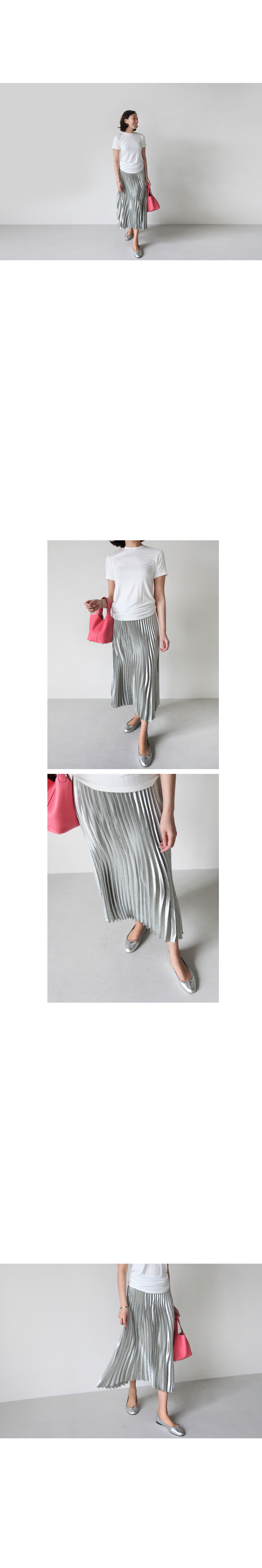 Metallic Pleated Skirt|