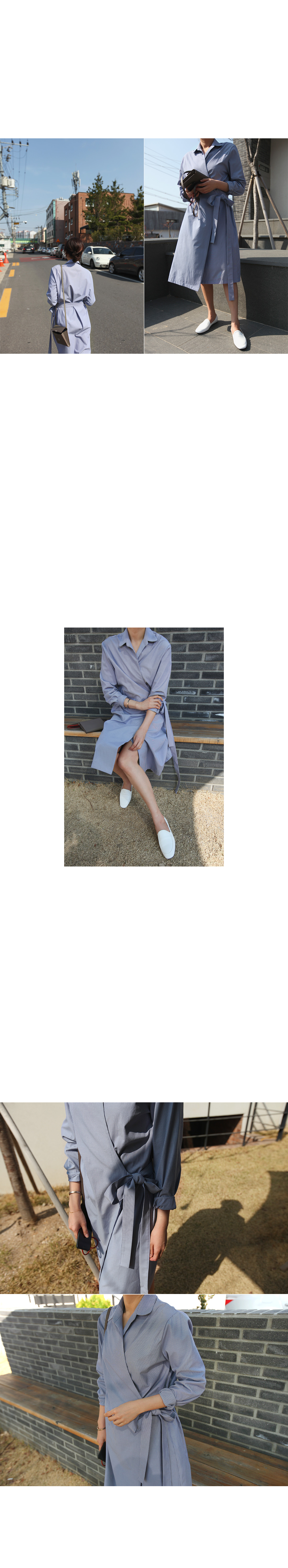 Striped Wraparound Shirt Dress|