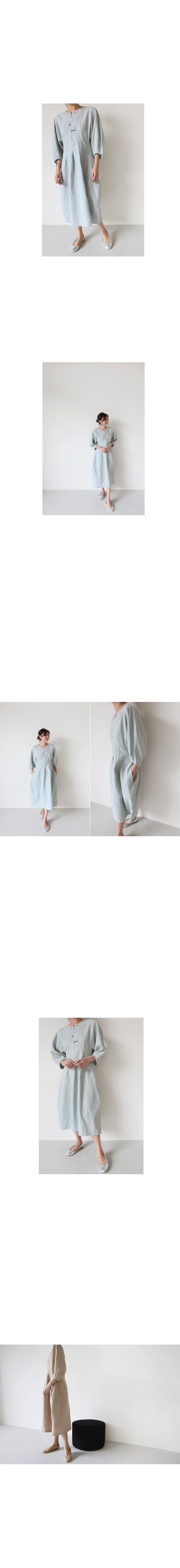 Zip Placket Linen Dress|