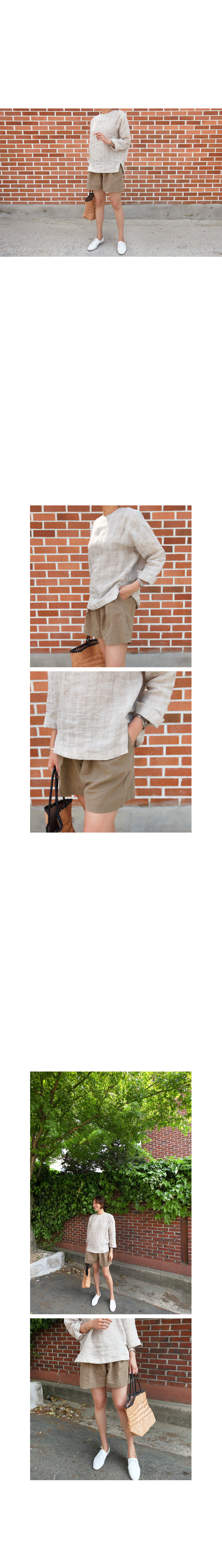 Linen Blend Loose Pull-On Shorts|