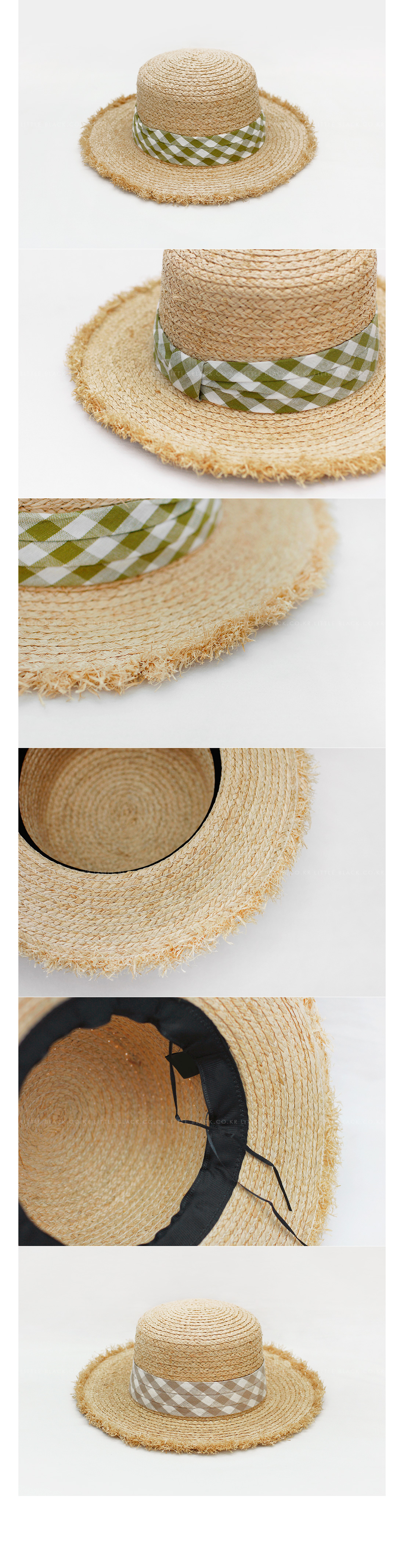 Gingham Band Frayed Brim Sun Hat|