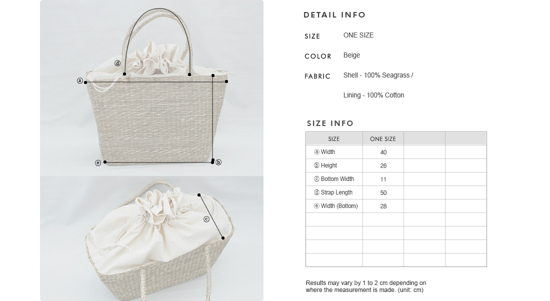 Seagrass Basket Tote Bag|