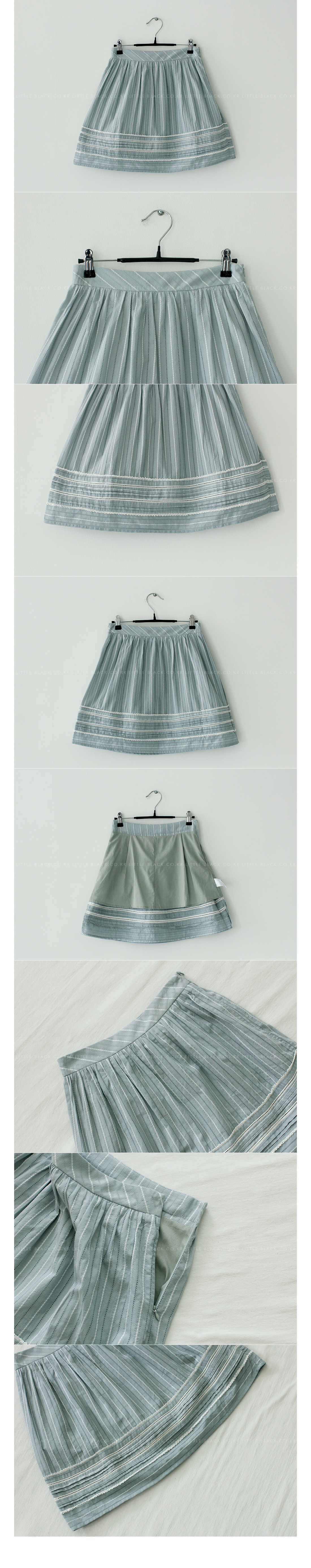 Striped Eyelet Mini Skirt|