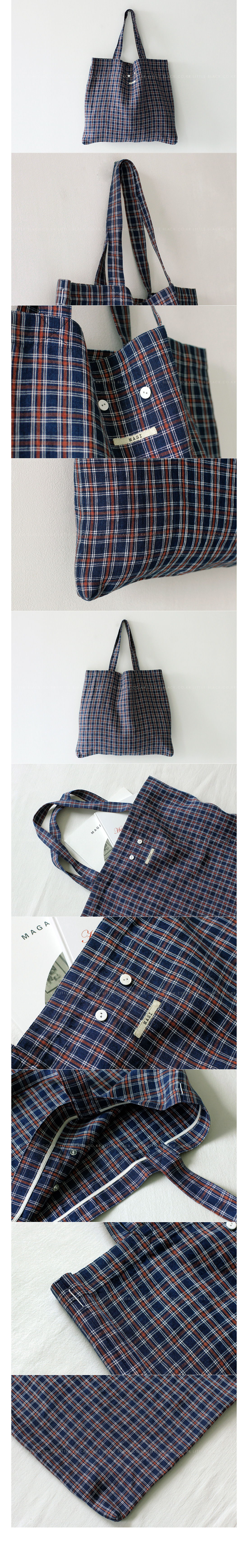 Plaid Linen Tote Bag|