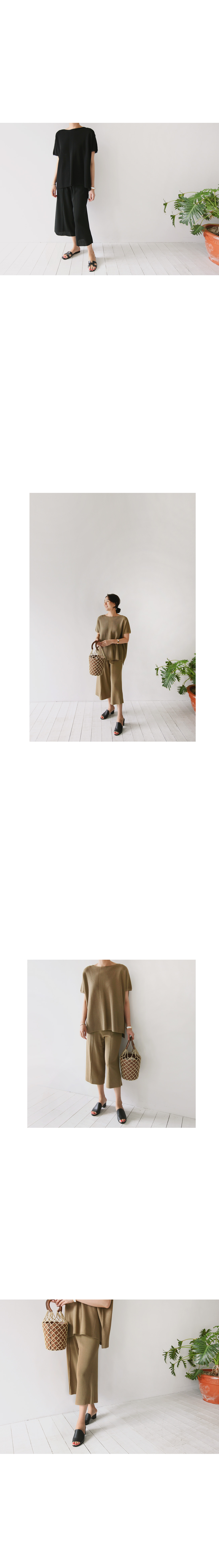 Knit Pintuck Front Culottes|