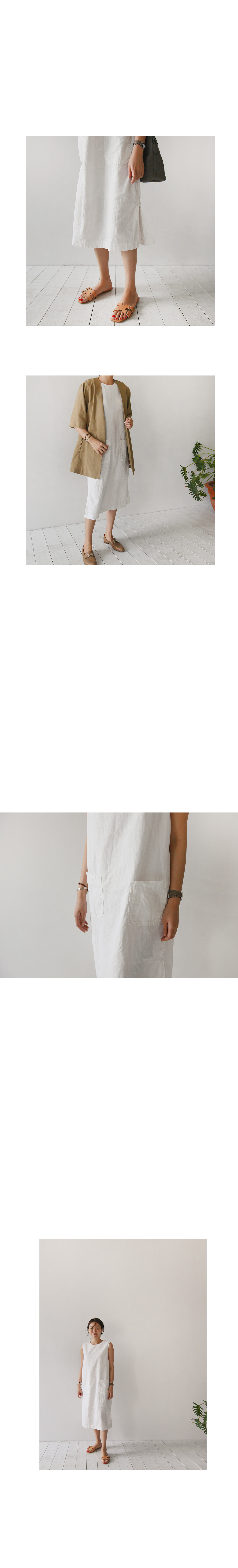 Side Slit Patched Pocket Dress|