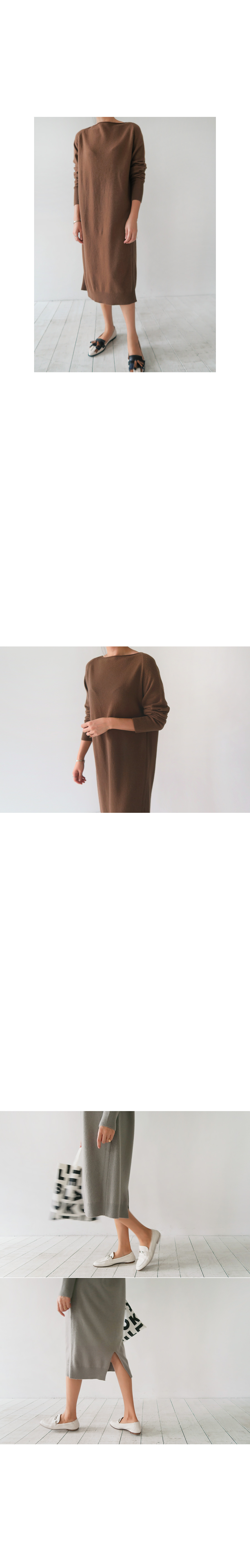 Boat Neck Knit Midi Dress|
