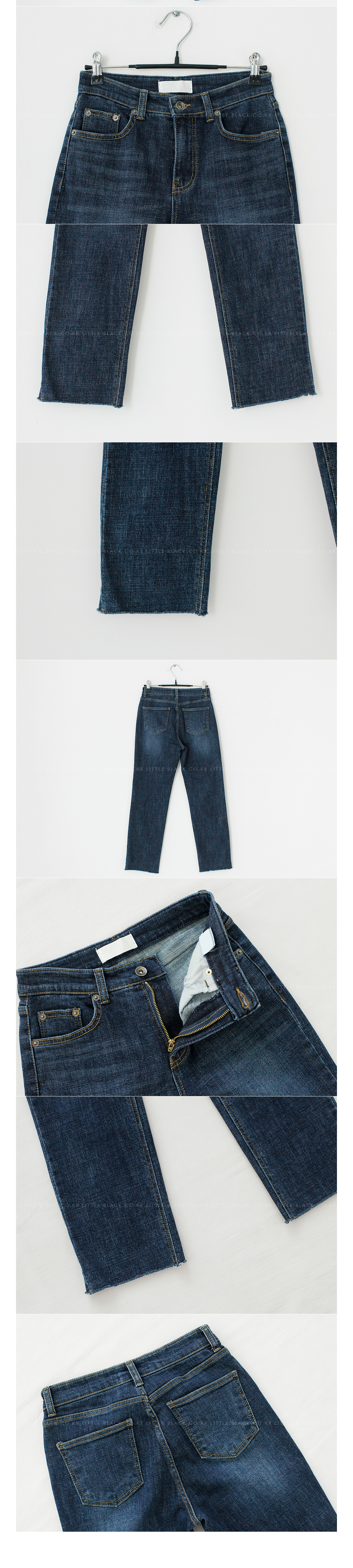 Raw Hem Straight Leg Crop Jeans|
