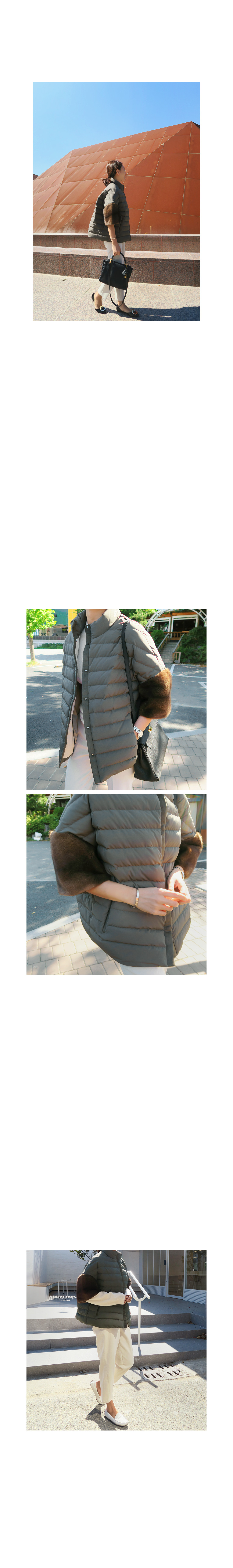 Fur Sleeve Goose Down Puffer Jacket|