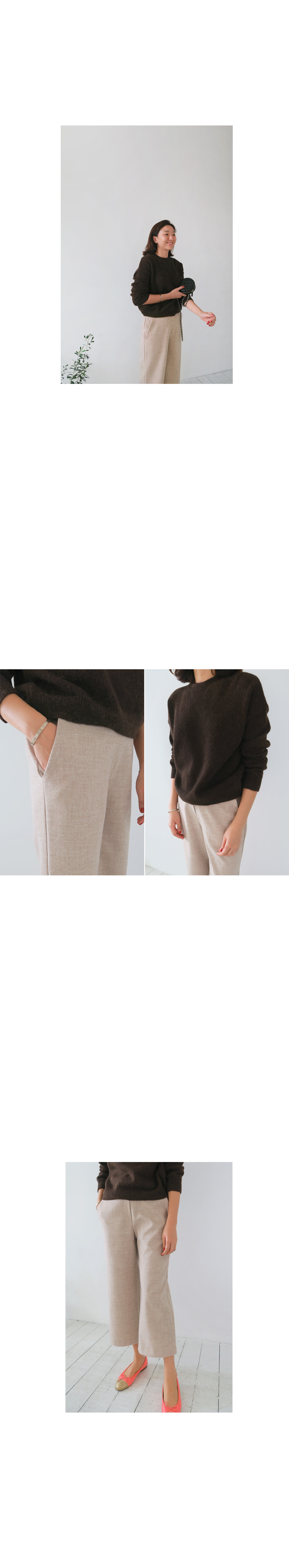 Wide Leg Wool Blend Pants|