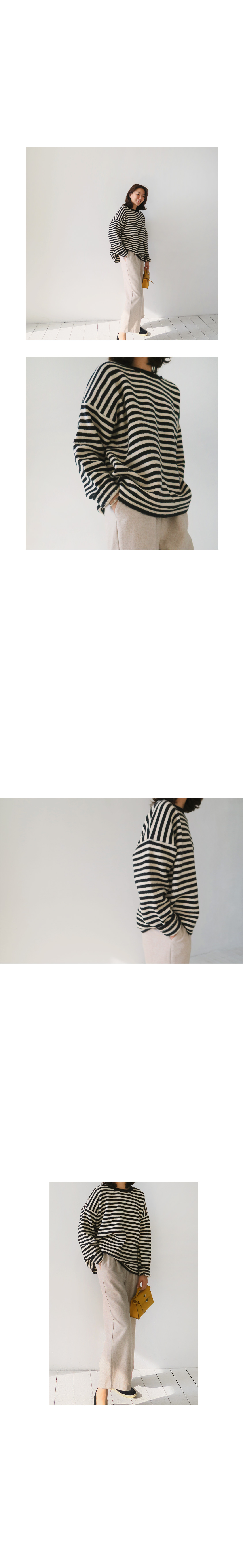 Drop Shoulder Striped Knit Top|